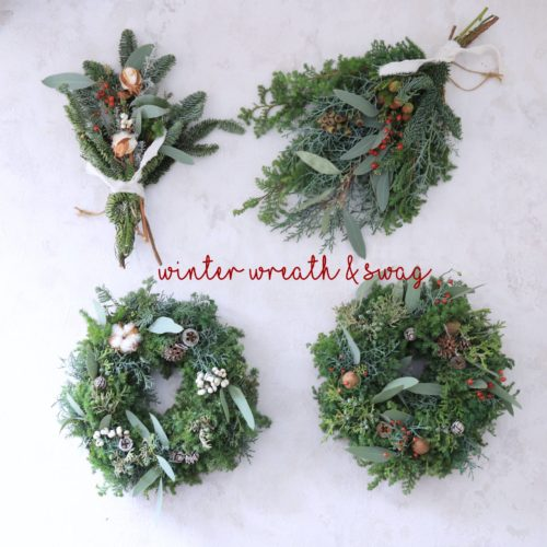 winter wreath店頭に並びました