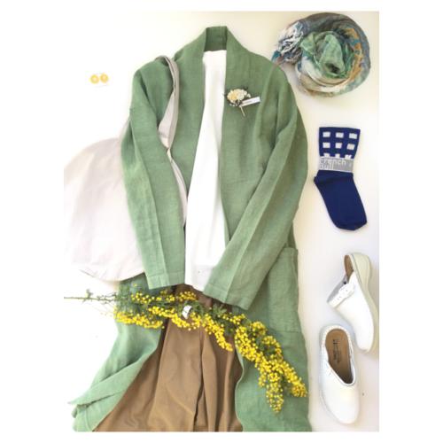 *春らしい麻の羽織のコーデ